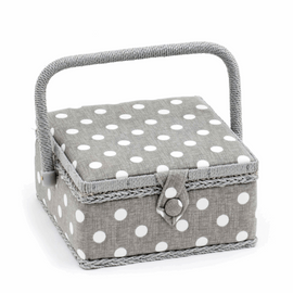 Sewing Box (Small): Square: Grey Linen Polka Dot By Hobby Gift