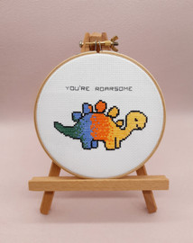 Dinosaur Cross Stitch Kit With Hoop by Sew Sophie