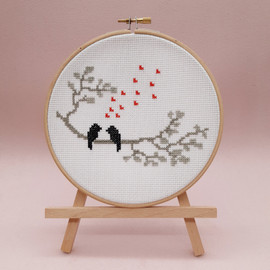 Love Birds Cross Stitch Kit with Hoop By Sew Sophie