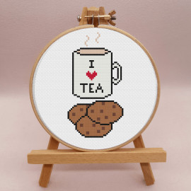 I Heart Tea  Cross Stitch Kit BY Sew Sophie