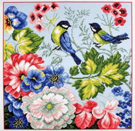 Printed Aida Fabric: Birds