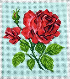 Printed Aida Fabric: Red Rose