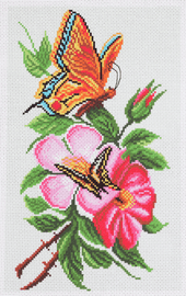 Printed Aida Fabric: Butterfly on Flower