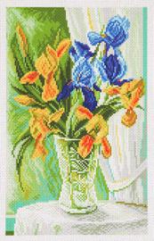 Printed Aida Fabric: Tender Irises
