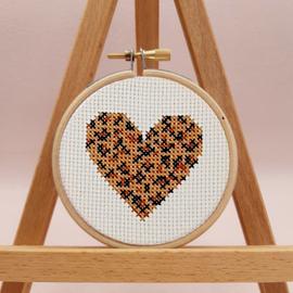 Leopard Print Heart Cross Stitch Kit By Sew Sophie