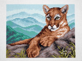 Printed Aida Fabric: Cougar in Mountains