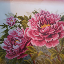 Pink Flower Cross Stitch Kit by Oven