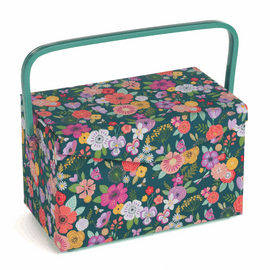 Fold Over Lid: Floral Garden: Teal Sewing Box Medium