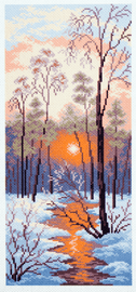 Printed Aida Fabric: Winter Sunset by Collection D'Art