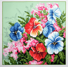 Printed Aida Fabric: Pansies by Collection D'Art