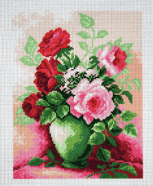 Printed Aida Fabric: Roses in Vase by Collection D'Art