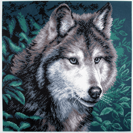 Printed Aida Fabric: Wolf by Collection D'Art