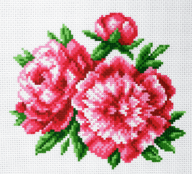 Printed Aida Fabric: Peonies by Collection D'Art