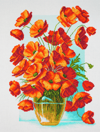 Printed Aida Fabric: Poppies in Vase by Collection D'Art