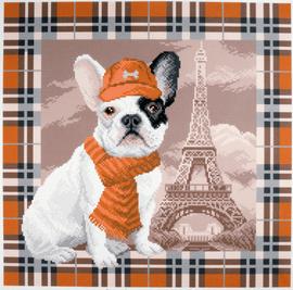 Printed Aida Fabric: French Bulldog in Paris
