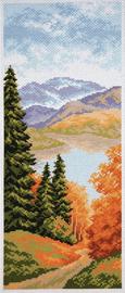 Printed Aida Fabric: Mountain Lake