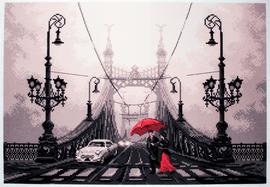 Printed Aida Fabric: Foggy Night in Budapest