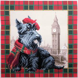 Printed Aida Fabric: Scottish Terrier in London
