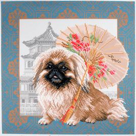 Printed Aida Fabric: Pekingese in Beijing