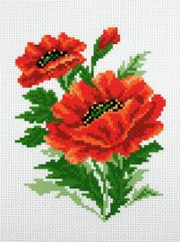 Printed Aida Fabric: Poppies