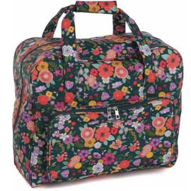 Teal Floral Garden Matt PVC Sewing Machine Bag by Hobby Gift