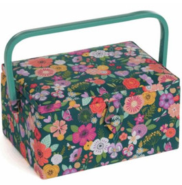 Teal Floral Garden Sewing Box by Hobby Gift