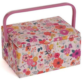 Pink Floral Garden Sewing Box by Hobby Gift