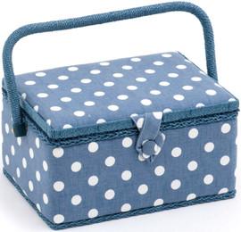 Denim Polka Dot Sewing Box by Hobby Gift