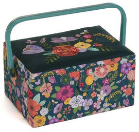 Teal Floral Garden Embroidered Sewing Box by Hobby Gift