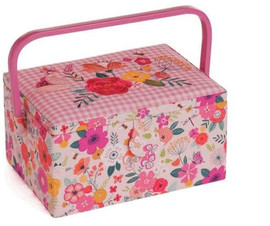 Pink Floral Embroidered Garden Sewing Box by Hobby Gift