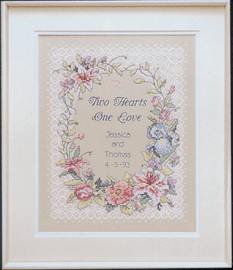 Stamped Cross Stitch: Wed/Rec: Two Hearts