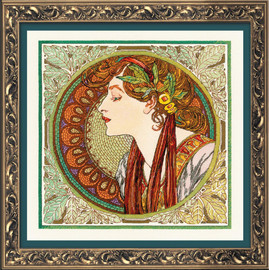 Laurel - Mucha Counted Cross Stitch Kit by Riolis