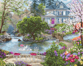Waterside Tea Counted Cross Stitch Kit By Luca-S