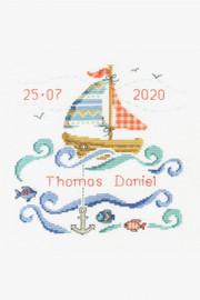 New Baby Sailboat Cross stitch Kit by DMC