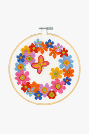 Floral Wreath Cross Stitch Kit by DMC