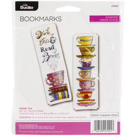 Drink Tea Counted Cross Stitch Bookmarks By Bucilla