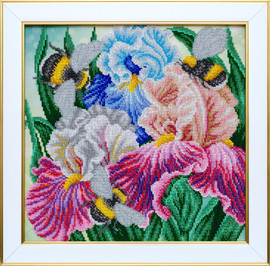 Irises and Bumblebees Beaded Embroidery Kit By VDV