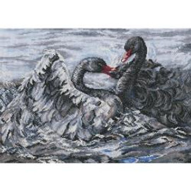 Two Black Swans Counted Cross Stitch Kit By RTO