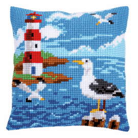 Cross Stitch Kit: Cushion: Lighthouse and Seagulls by Vervaco