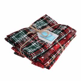 Fat Quarter Bundle: Printed Christmas Tartan: 4 Pieces: Reds