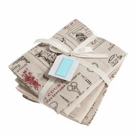 Fat Quarter Pack: Printed: Natural: 5 Pieces