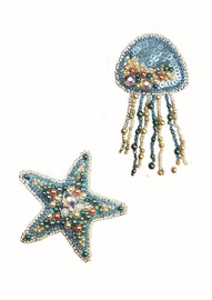 Starfish and Jelly Fish Brooches Beaded Embroidery Kit By VDV