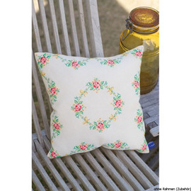 Garland and Roses Cushion Cross Stitch Kit by Vervaco