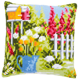 In My Garden Cushion Cross Stitch Kit by Vervaco
