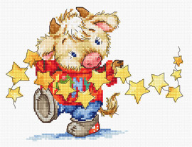 Calf with Stars Counted Cross Stitch Kit By Luca S
