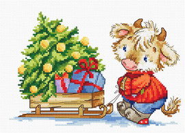 Calf with Christmas Tree Counted Cross Stitch Kit by Luca-S