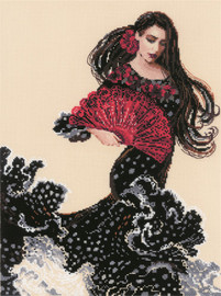 Dancer with a Fan Counted Cross Stitch Kit by Riolis