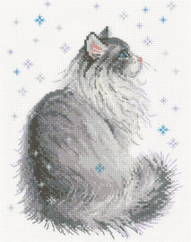 Snowy Meow Counted Cross Stitch Kit by Riolis