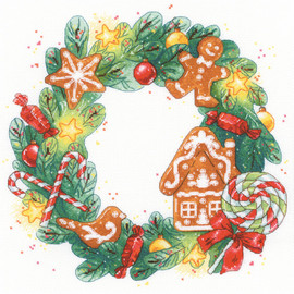 Gingerbread Wreath Counted Cross Stitch Kit by Riolis