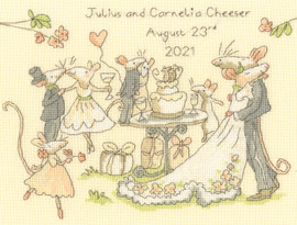 Mice day for a white wedding Cross Stitch Kit by Bothy Threads